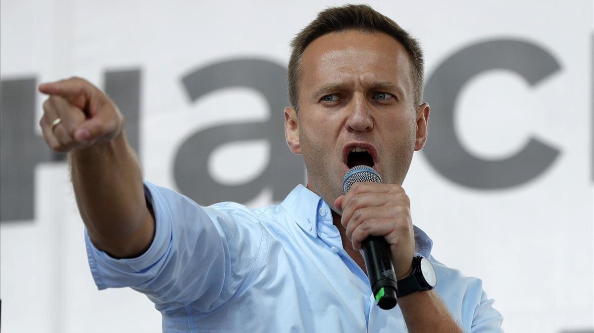 El opositor ruso Alekséi Navalni, en un mitin en Moscú en julio del 2019.