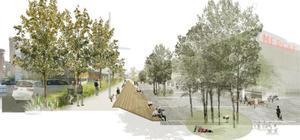 Imagen orientativa de la ampliación de la acera y la redistribución del espacio prevista en las obras de la Ronda de Dalt en el mercado del Vall d'Hebron.
