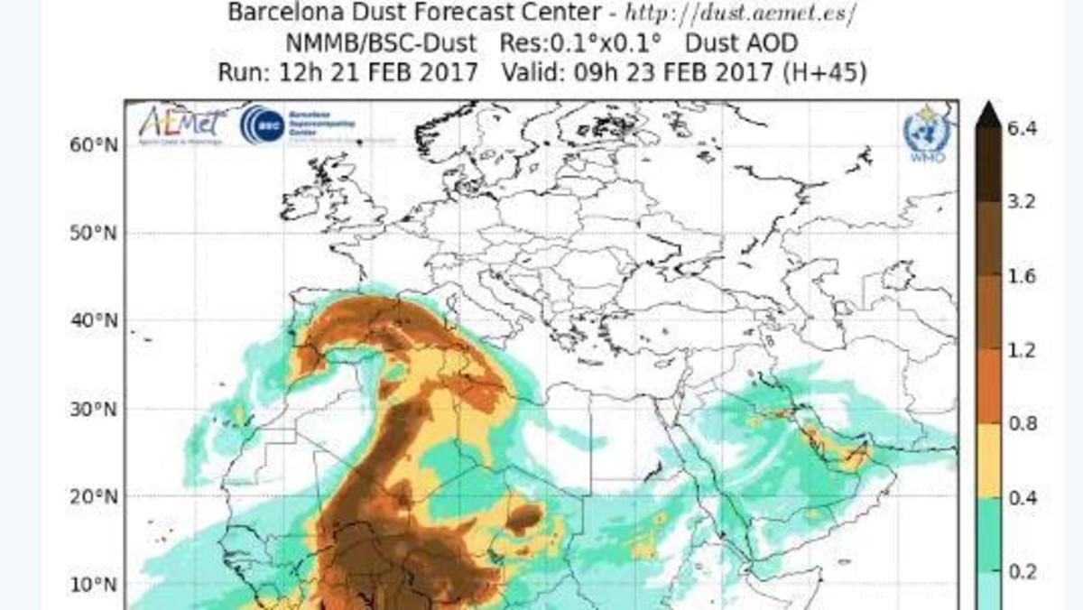 Previsión del Barcelona Dust Forecast Center para el jueves por la mañana.
