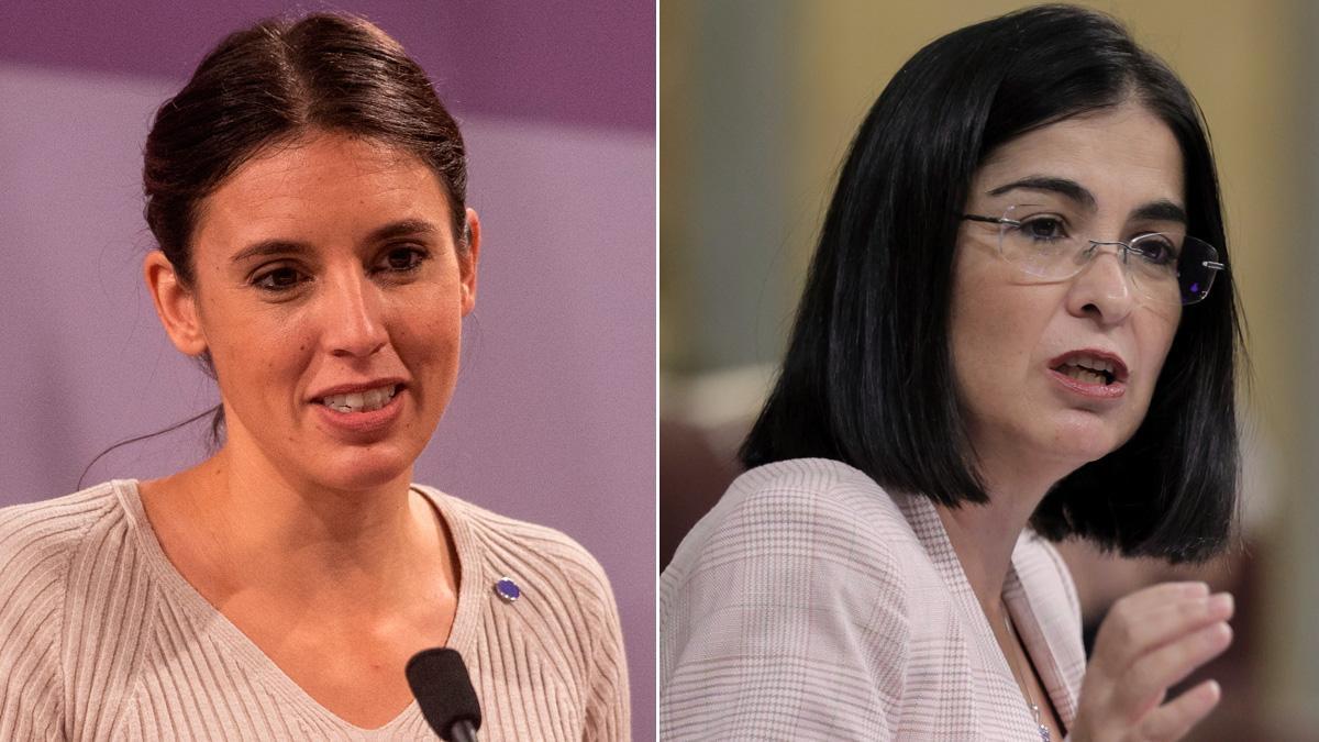 Irene Montero: Urge reformar la ley del aborto para garantizar y blindar ese derecho. En la foto, Montero junto a Carolina Darias.