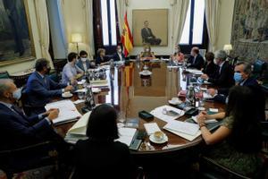 Meritxell Batet preside la reunión de la Mesa del Congreso, el pasado 9 de septiembre.