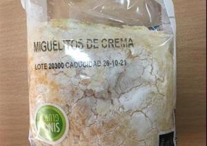 Miguelitos de crema de la empresa Dulce Extremadura SL, que ha sido cerrada tras una alerta sanitaria.