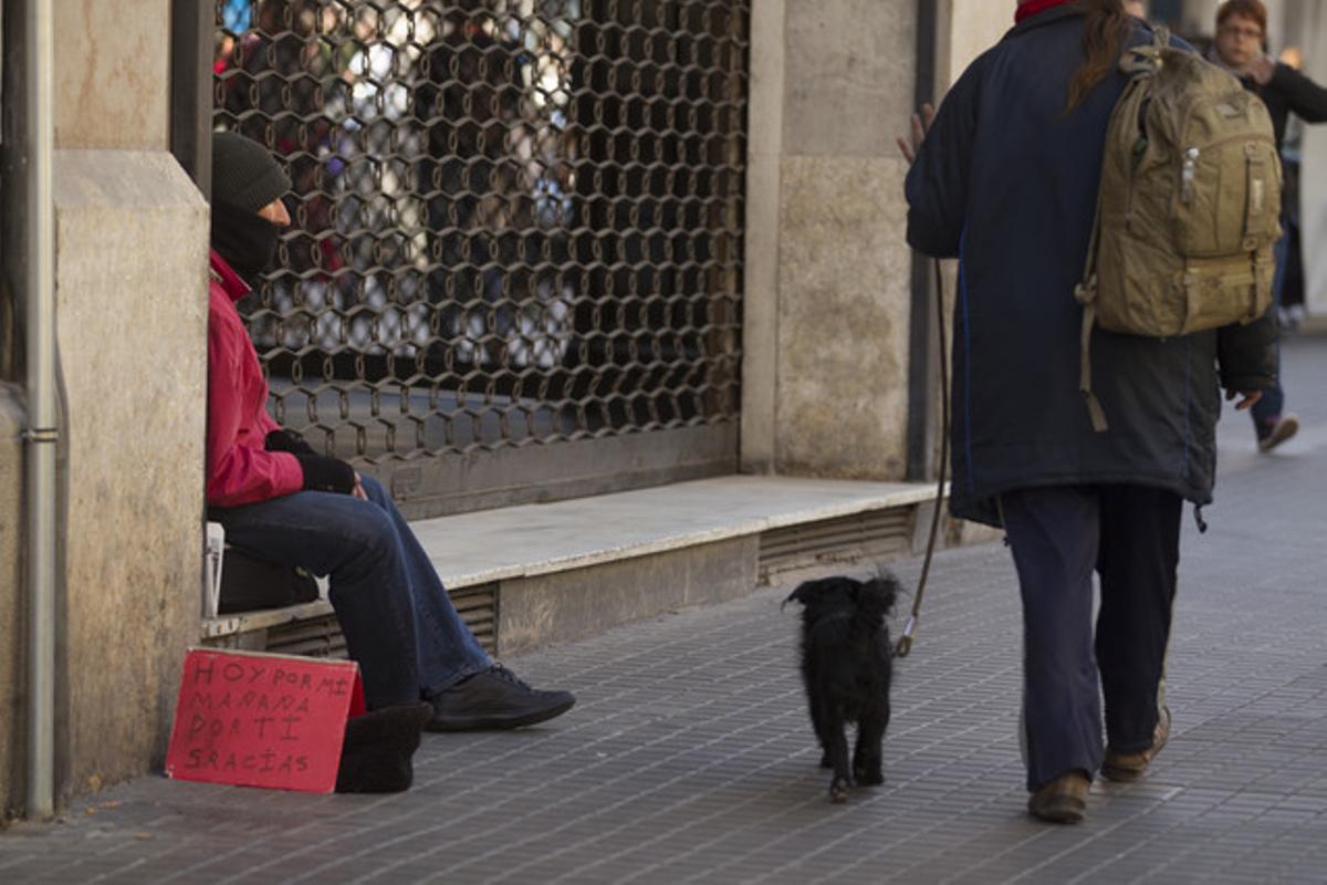 Mendicidad en la ciudad de Barcelona.