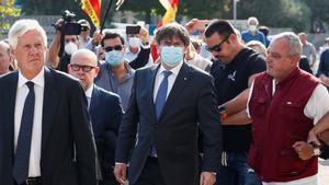 Puigdemont a su llegada al Tribunal de Apelación de Sassari, en Cerdenya.