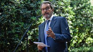 Artur Mas durante su rueda de prensa en el Palau Robert.
