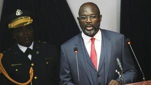 Weah ofrece su primer discurso sobre el estado de la nación, en la Cámara Nacional de Legisladores, en Monrovia, el 29 de enero.