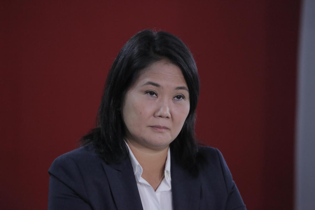 Keiko Fujimori, durante una rueda de prensa en Lima, este miércoles.