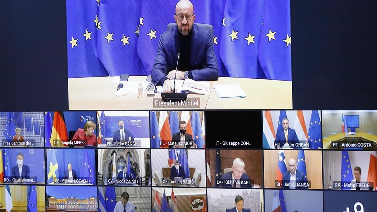 El presidente del Consejo Europeo, Charles Michel, en la cumbre telemática de la UE sobre el coronavirus de este jueves.