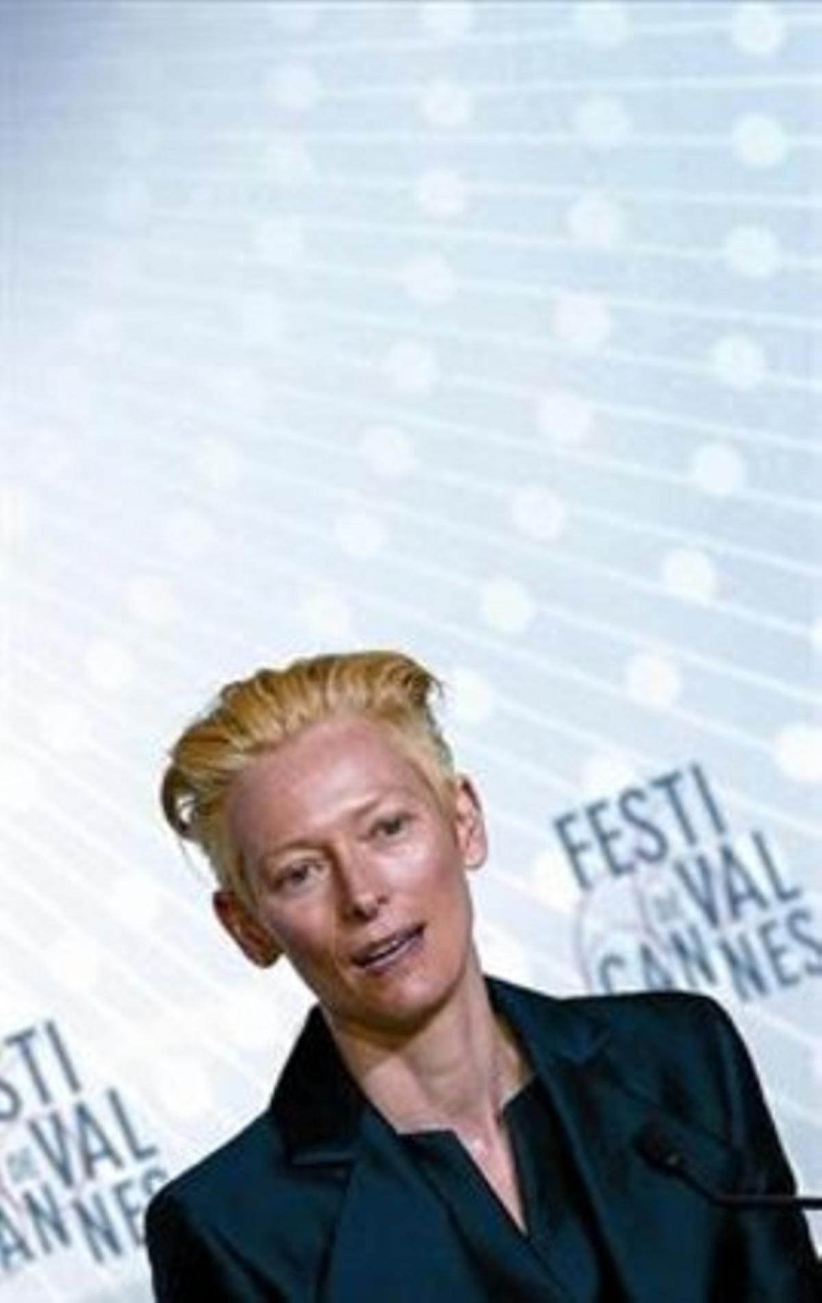 Tilda Swinton, ayer en Cannes.