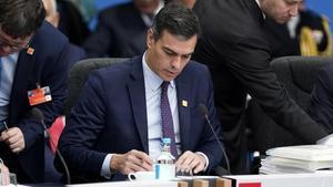 Pedro Sánchez durante la cumbre de la OTAN en Londres, este miércoles.