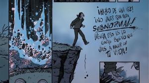 Una página del cómic 'Subnormal: una historia de acoso escolar', que narra el 'bullying' que sufrió el exjugador de la ACB Iñaki Zubizarreta.