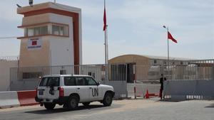 Un vehículo de la ONU en el puesto fronterizo de Guerguerat, el pasado sábado.