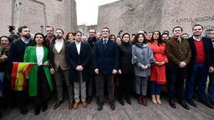 Dirigentes del PP, Cs y Vox, el pasado 10 de febrero, en la protesta contra el Gobierno de Sánchez, en la plaza Colón de Madrid.