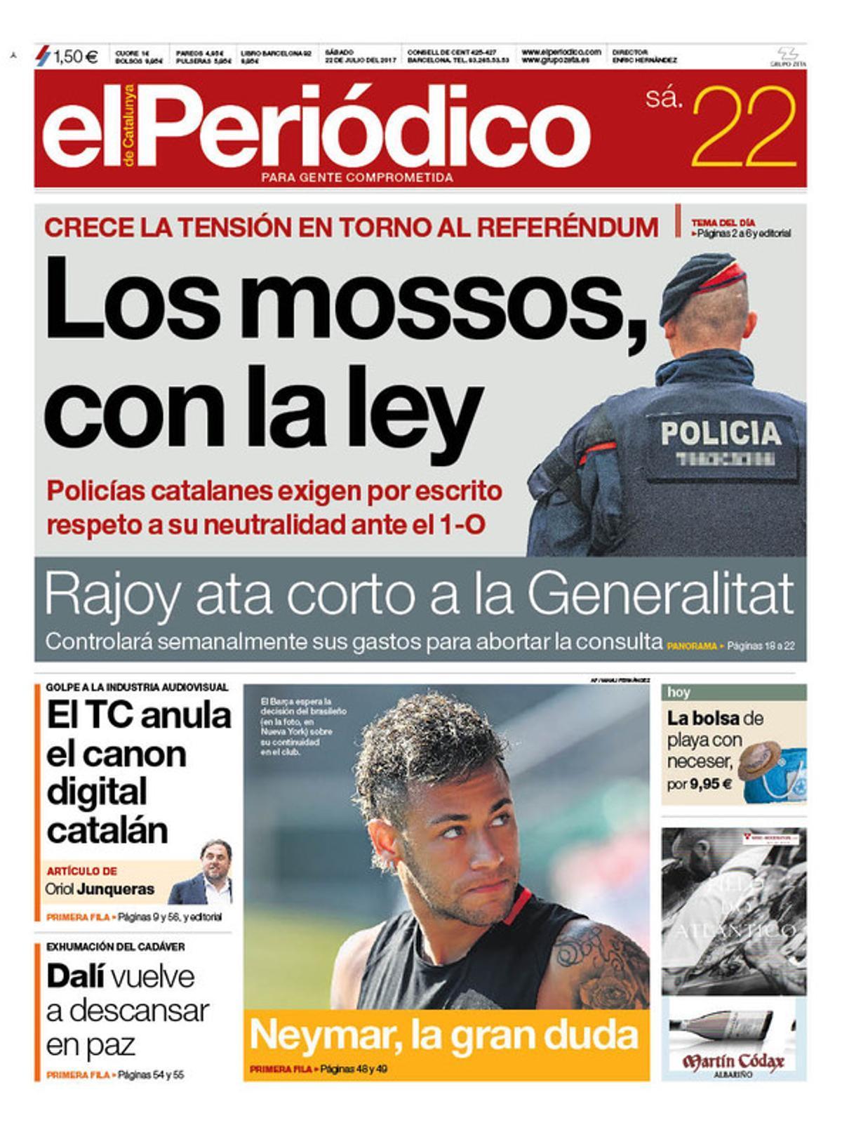 La portada de EL PERIÓDICO del sábado, 22 de julio del 2017.