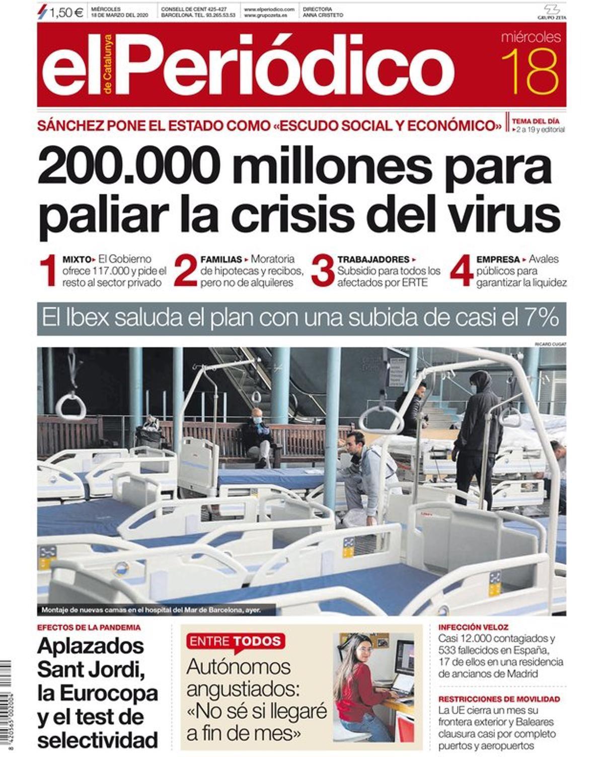 La portada de EL PERIÓDICO del 18 de marzo del 2020.