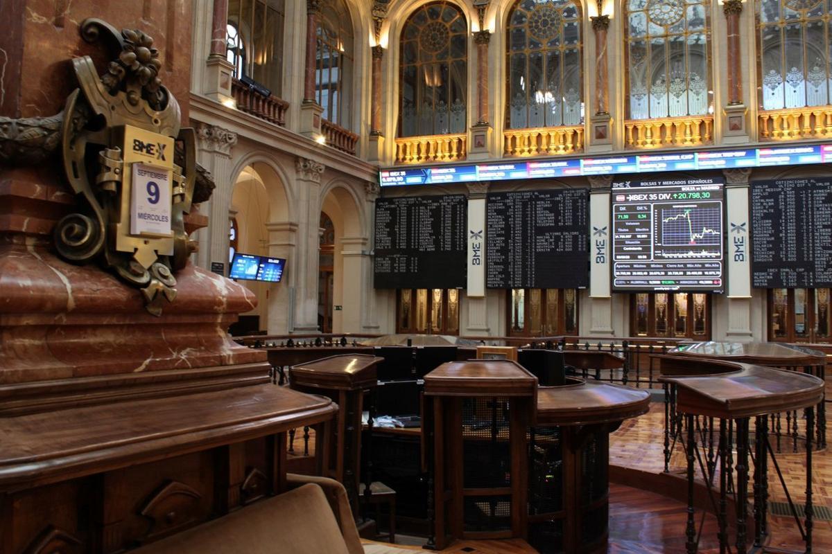 Vista general del parqué de la Bolsa de Madrid
