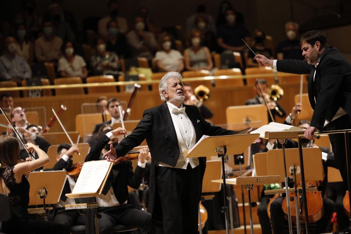 Plácido Domingo, este miércoles en el Auditorio Nacional de Madrid.