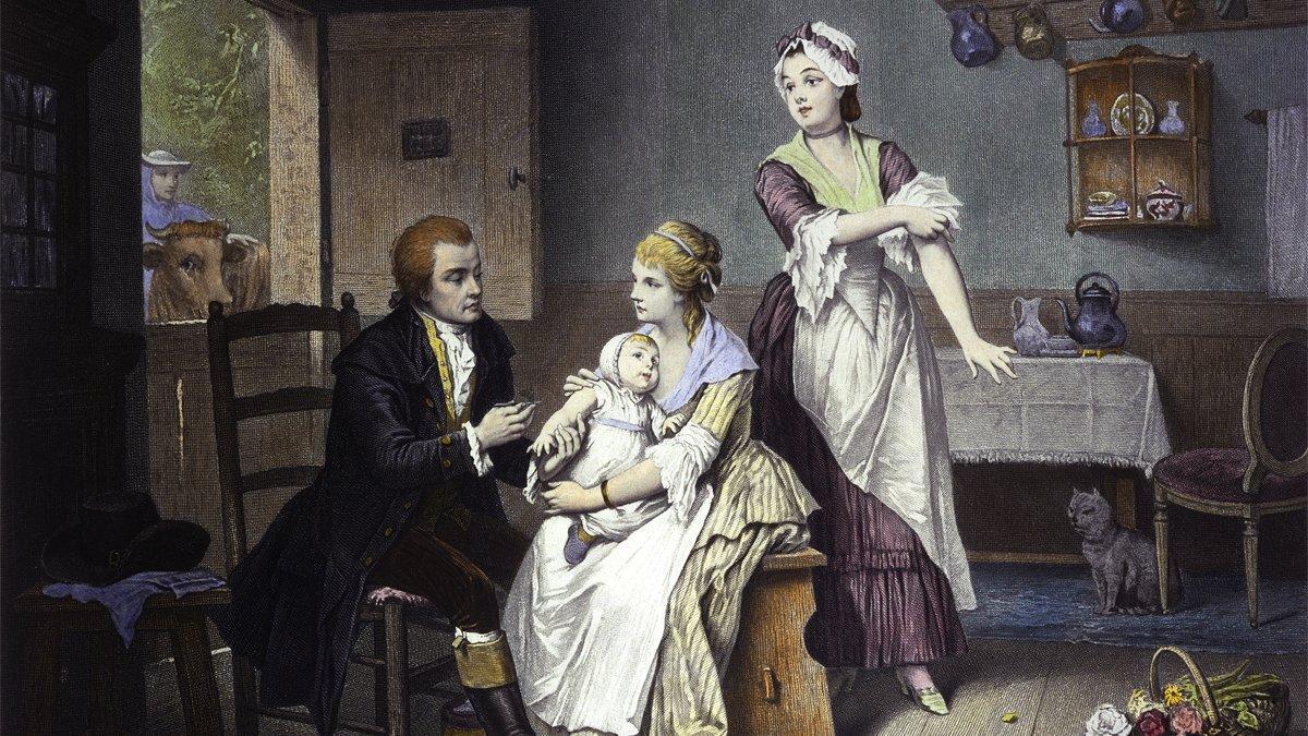 Los grabados de los médicos vacunando niños se hicieron muy populares. En este, Jenner aparece con su hijo, en el regazo de su madre.