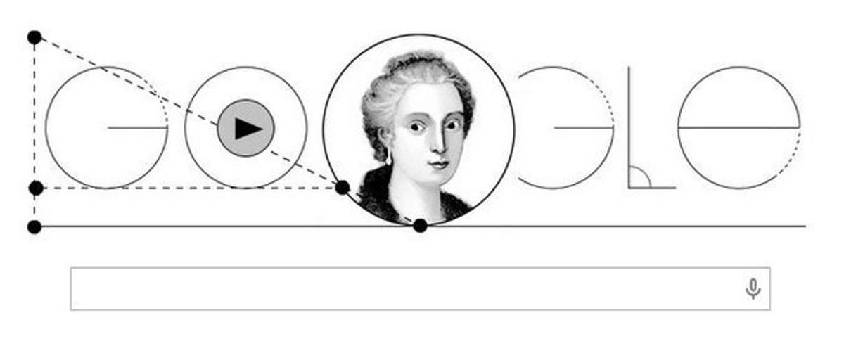 El 'doodle' de Google está dedicado a María Gaetana Agnesi.
