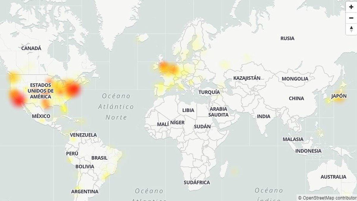 Mapa de la afectación de Twitter en varios países: cuanto más rojo, más falla Twitter.