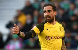 El delantero Paco Alcácer durante un partido con el Borussia Dortmund.