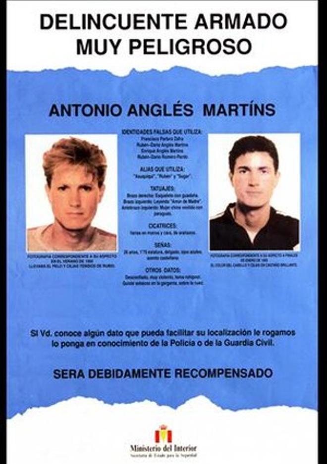 Cartel editado el pasado enero que reclama la captura de Antonio Anglés.