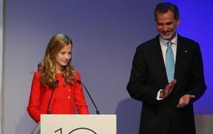 La princesa Leonor y el rey Felipe VI, en la entrega de Premios Fundación Princesa de Girona 2019, este lunes.