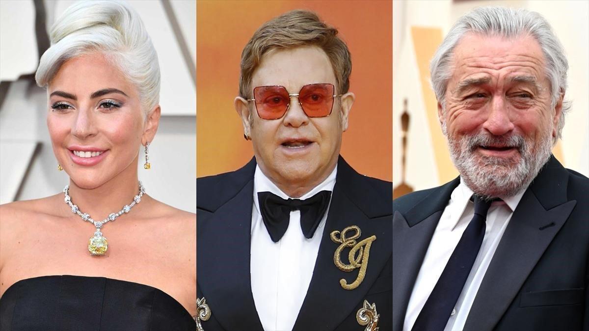 Lady Gaga, Elton John y Robert de Niro.