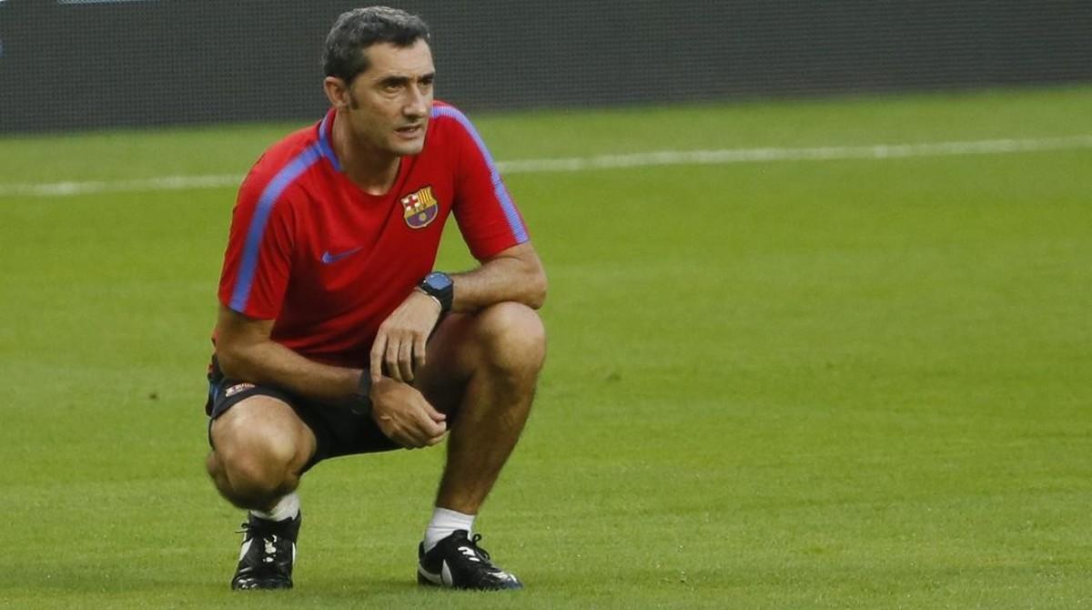 Ernesto Valverde, en un entrenamiento en Miami.