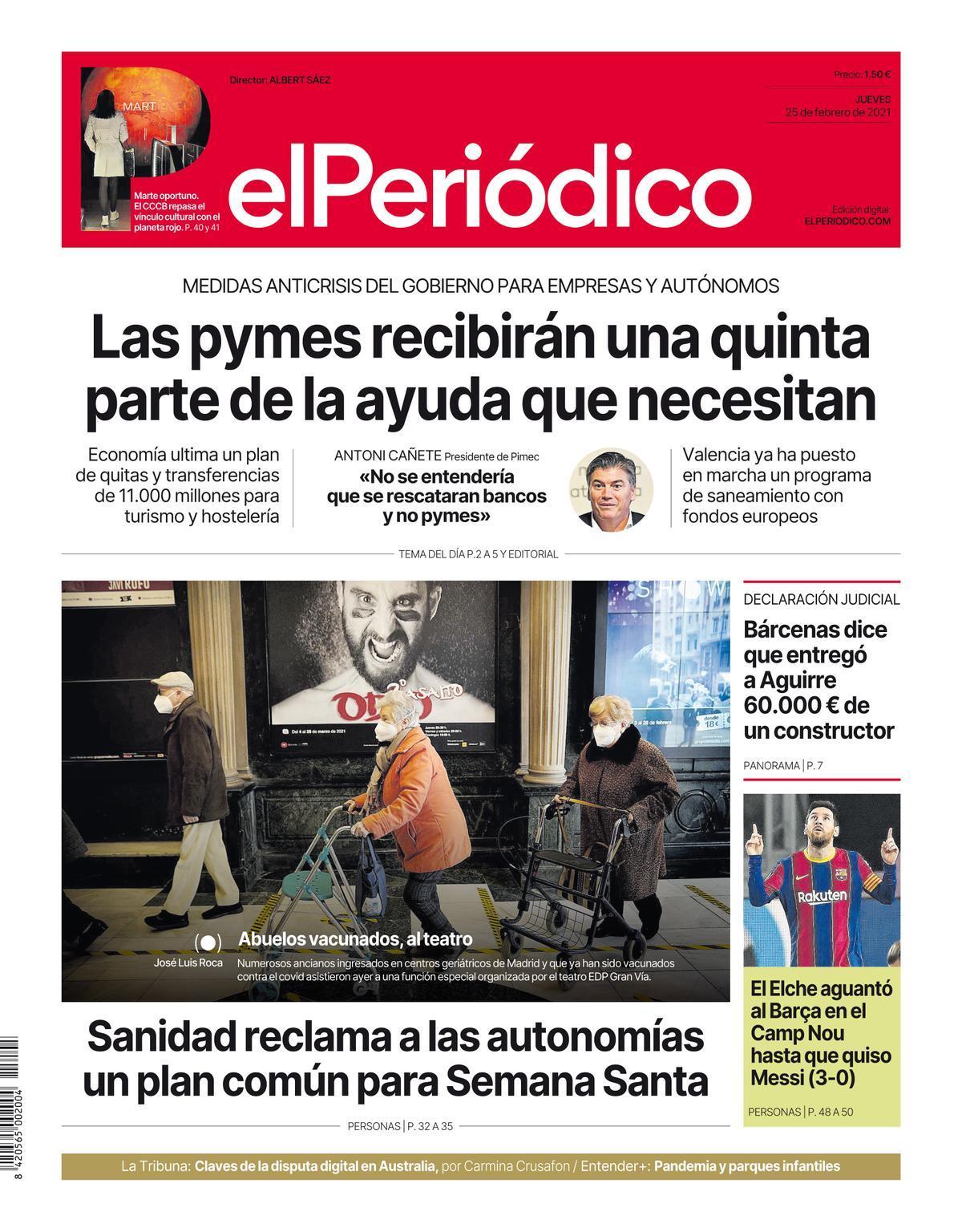 La portada de EL PERIÓDICO del 25 de febrero del 2021