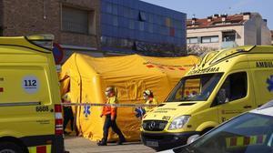 Hospital de campaña, para el cribado de los enfermos,en Igualada (Barcelona).
