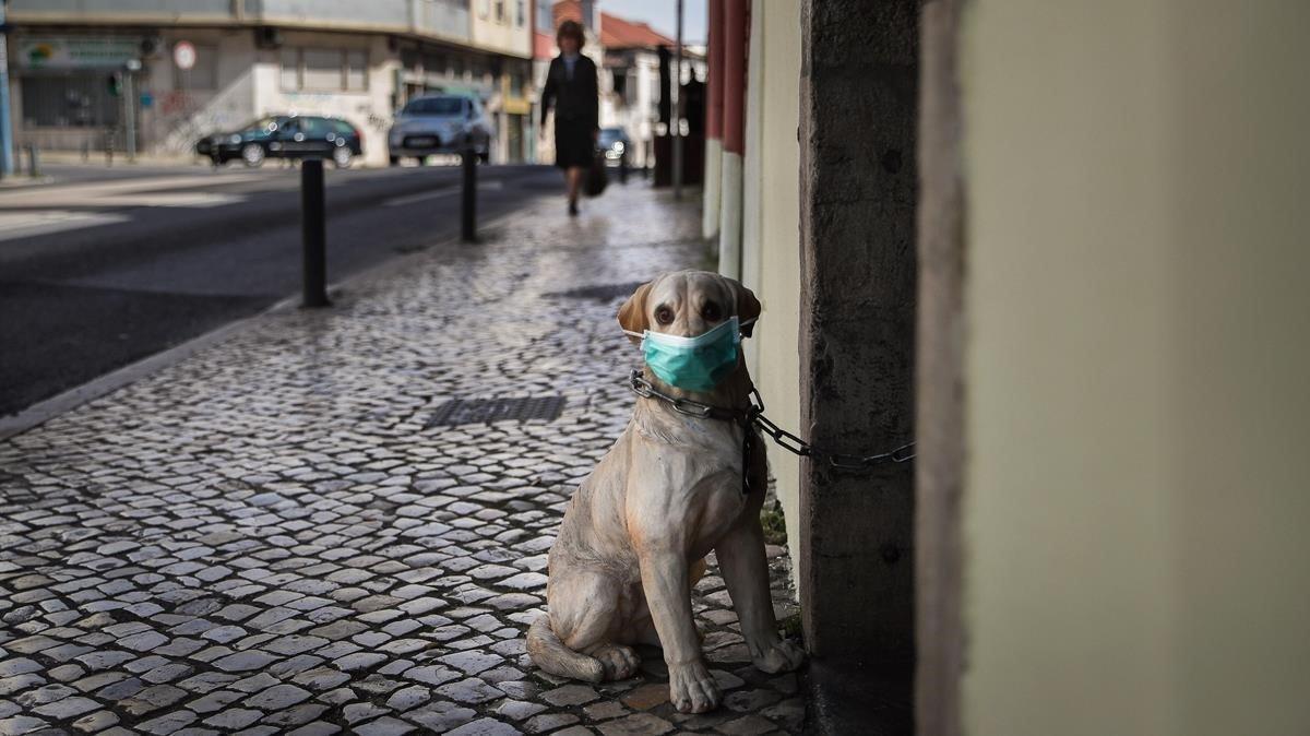 Un perro de porcelana al que han ataviado con una mascarilla, en un restaurante de Amadora, en Portugal.