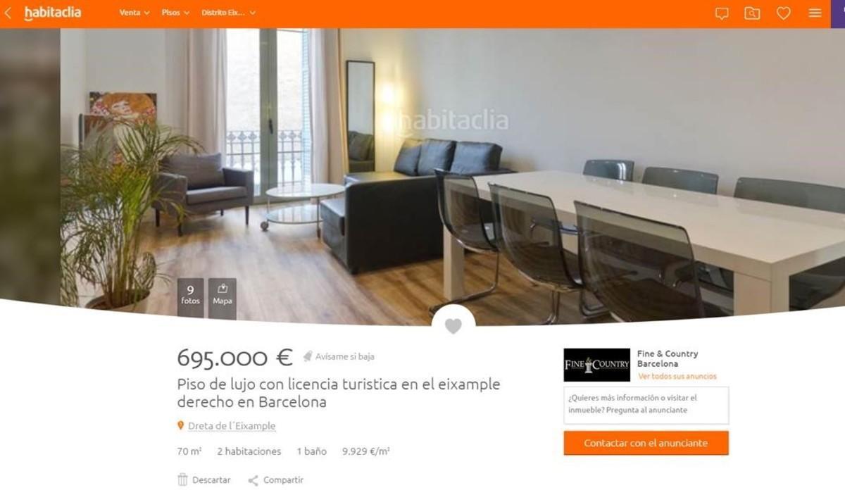 Anuncio de un piso en venta con licencia turística.