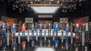 Los candidatos en el debate a 9 organizado por TV3 y Catalunya Ràdio.