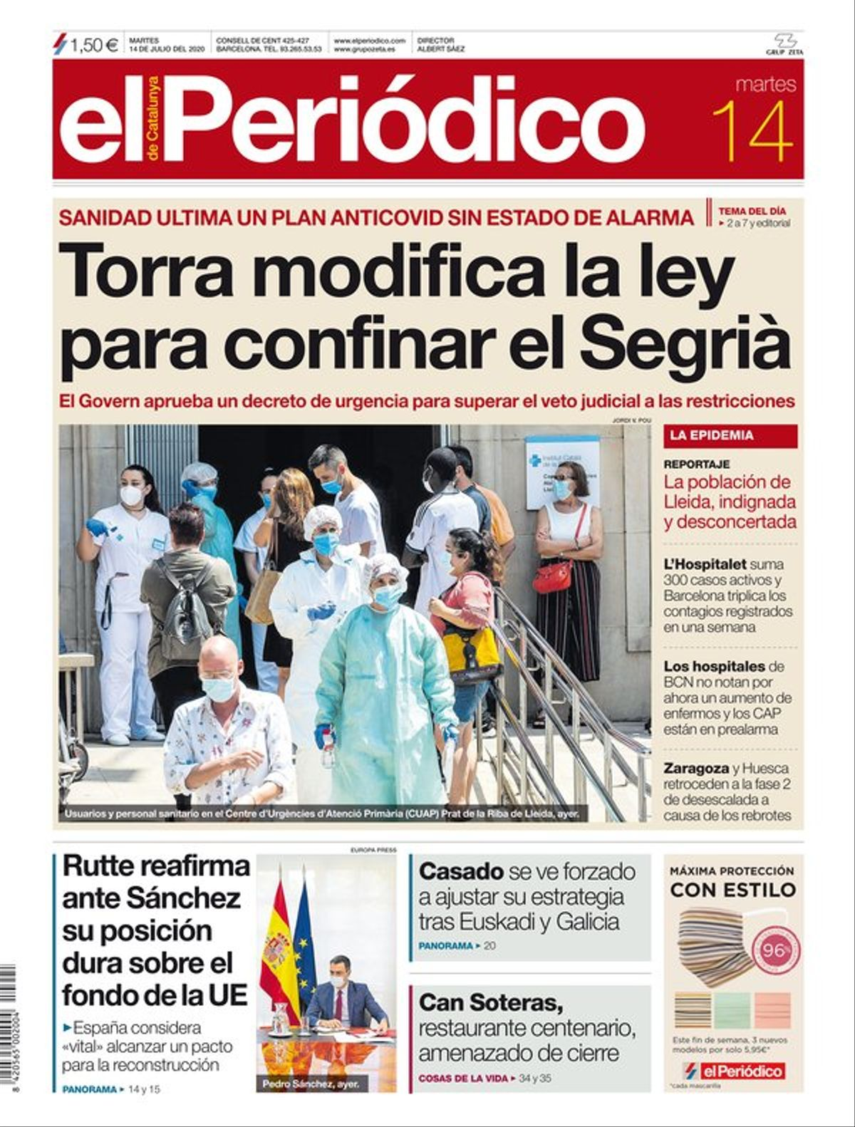 La portada de EL PERIÓDICO del 14 de julio del 2020