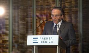 Javier Moll, presidente de Prensa Ibérica se dirige a los asistentes durante el acto de inauguración oficial de las instalaciones de Prensa Ibérica en l'Hospitalet