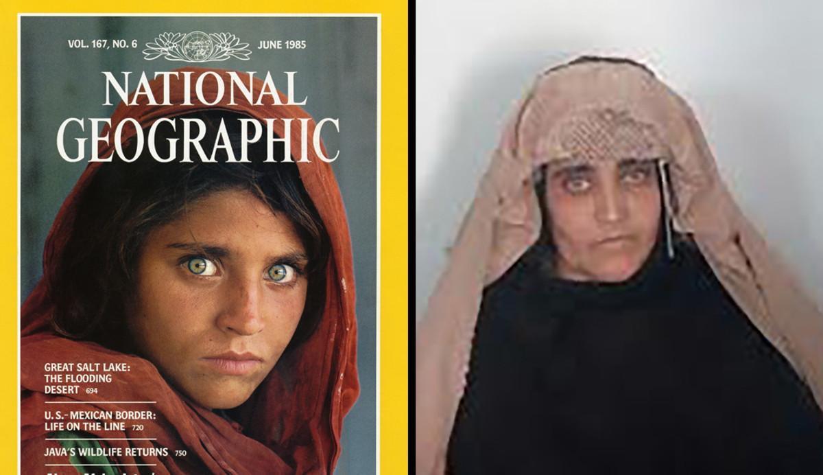 Sharbat Gula, de niña en la portada del 'National Geographic' junto a una imagen de adulta.