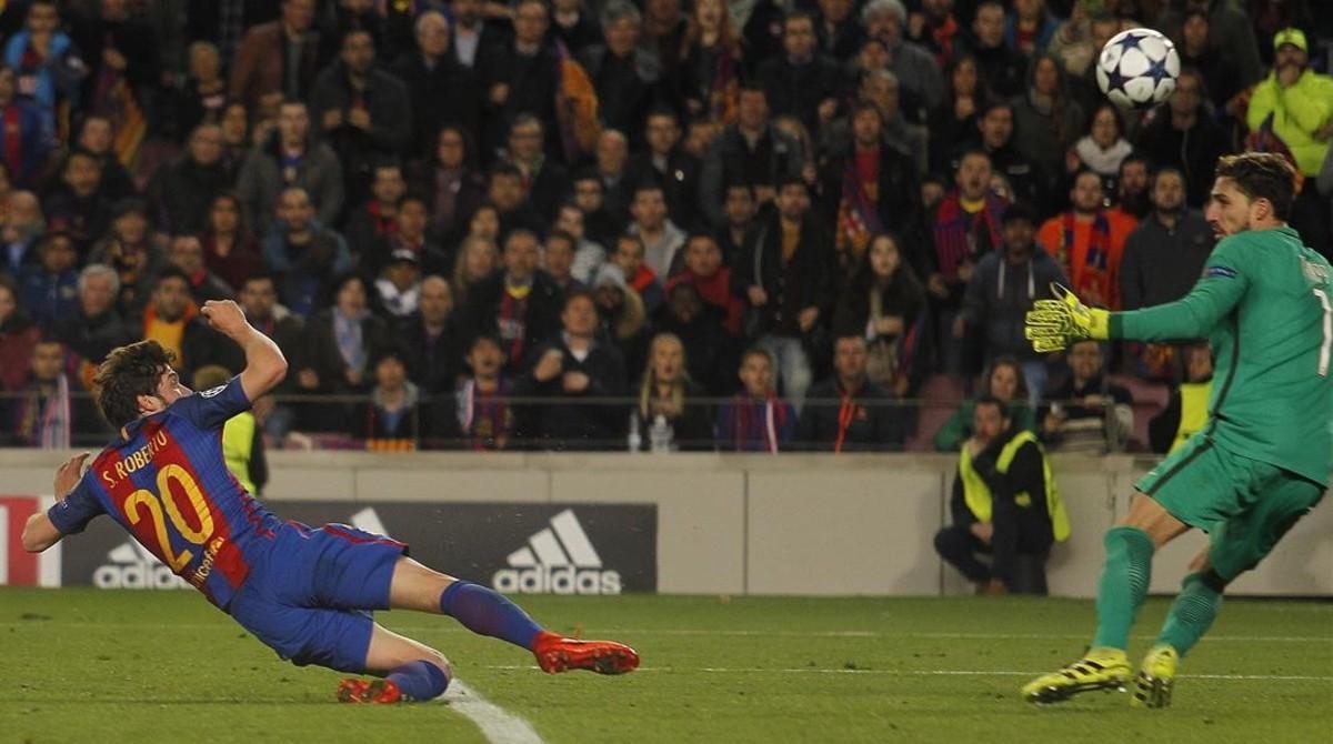 Sergi Roberto marca el 6-1 en el Camp Nou.