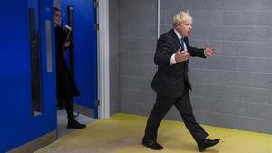 Boris Johnson tras pronunciar un discurso en Exeter este martes.