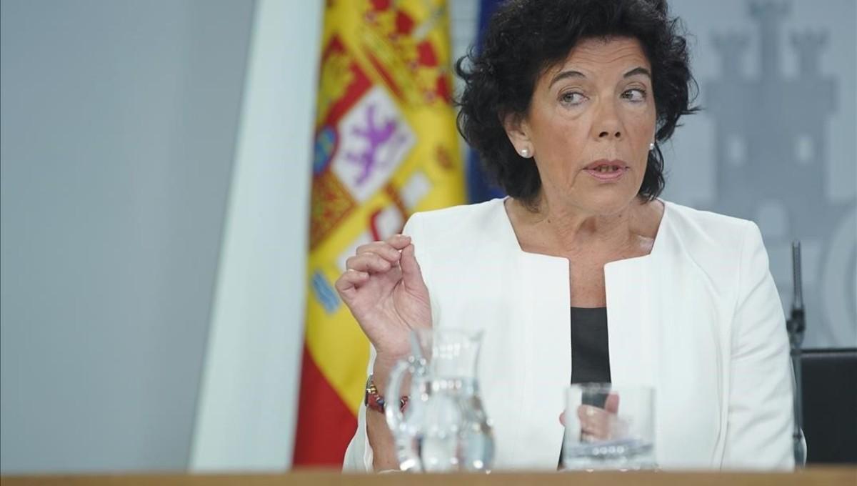 Isabel Celáa en la rueda de prensa posterior al Consejo de Ministros, el pasado 31 de agosto.