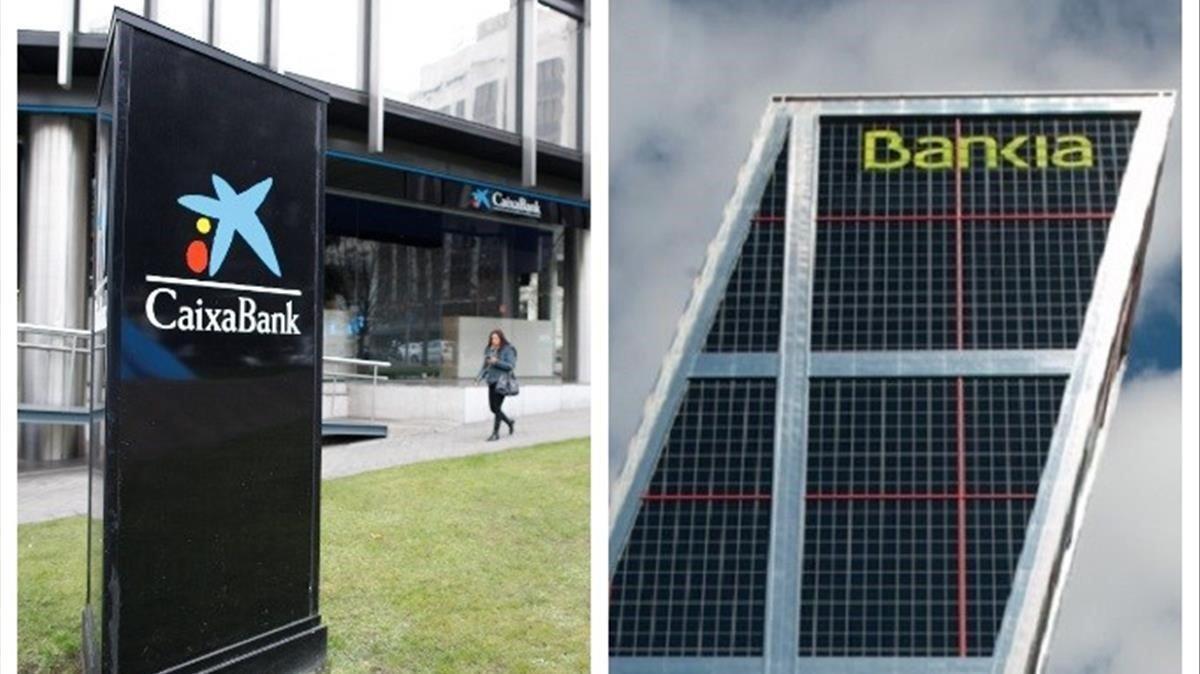 Imágenes corporativas de la Caixa y Bankia.