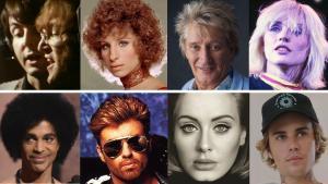 De izquierda a derecha y de arriba a abajo, Paul McCartney y John Lennon, Barbra Streisand, Rod Stewart, Blondie, Prince, George Michael, Adele y Justin Bieber.
