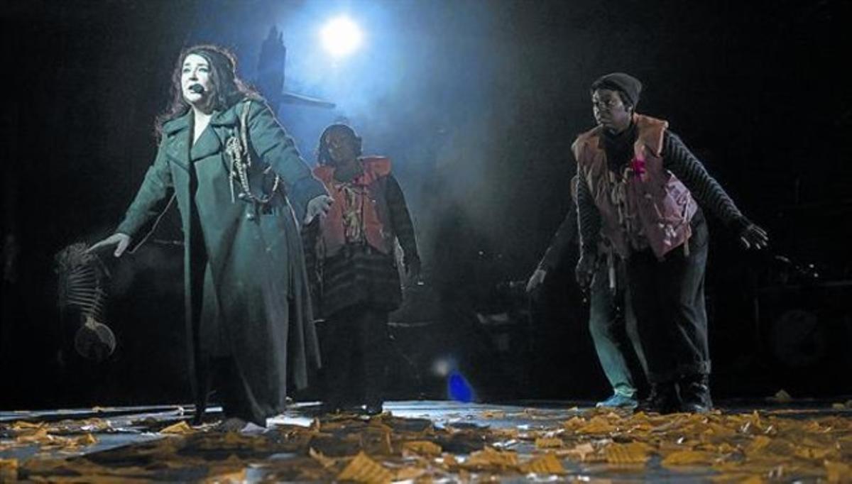Kate Bush, en el Hammersmith Apollo de Londres durante el primer concierto tras su vuelta a los escenarios, en el 2014.