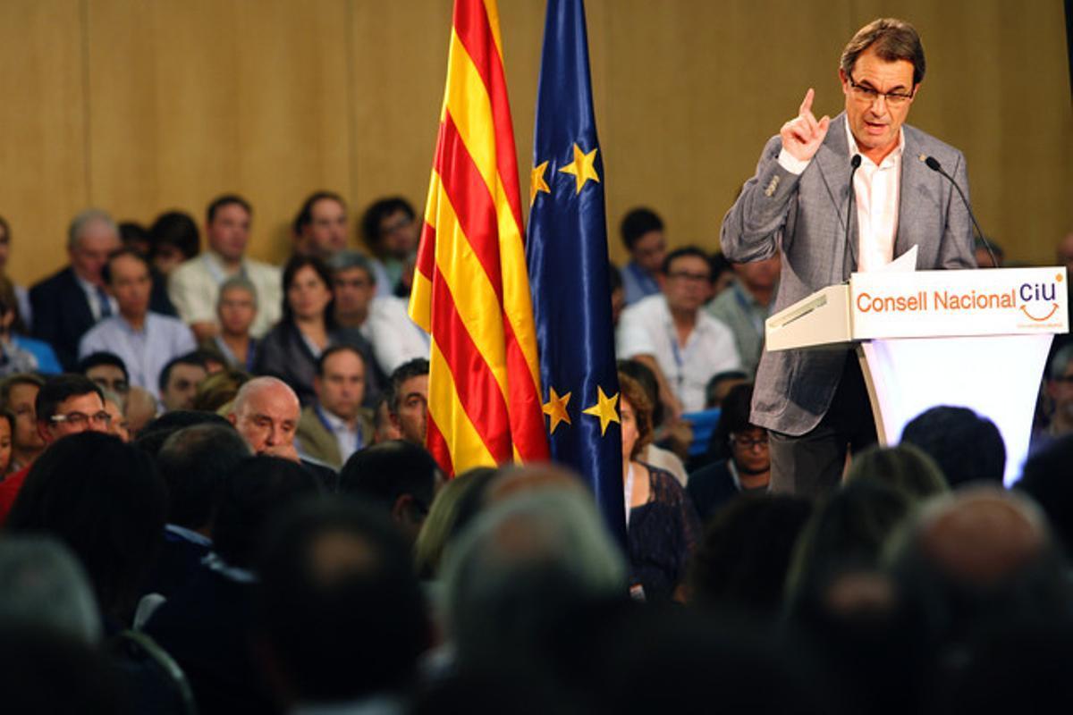 Artur Mas, durante el consell nacional de CiU, el domingo.