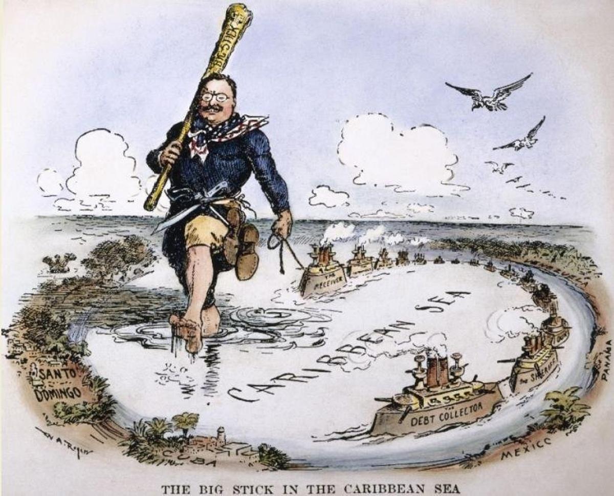 Caricatura de Theodore Roosevelt, en 1904, con su garrote.