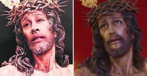 La imagen del Cristo Despojado con la cara de Daniel (izquierda) y la original.