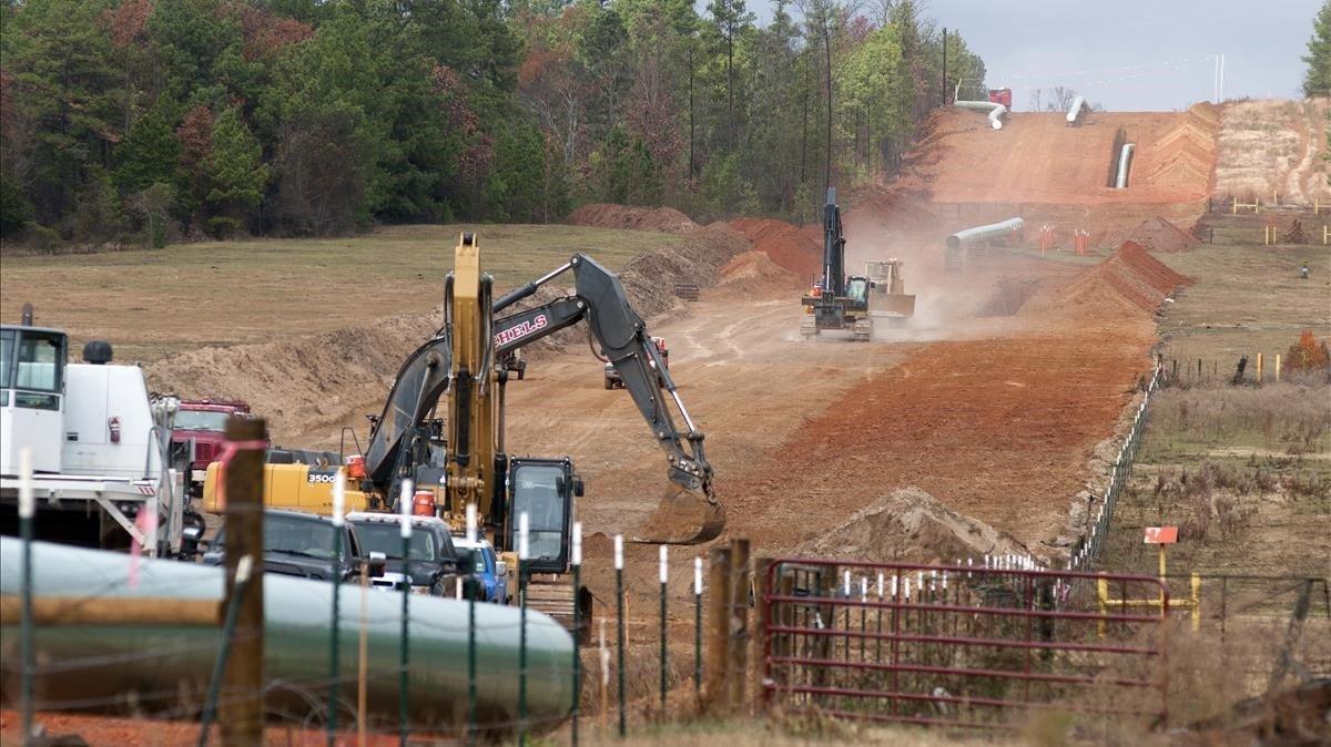 Trabajos de construcción del oleoducto Keystone XL, a su paso por Texas.