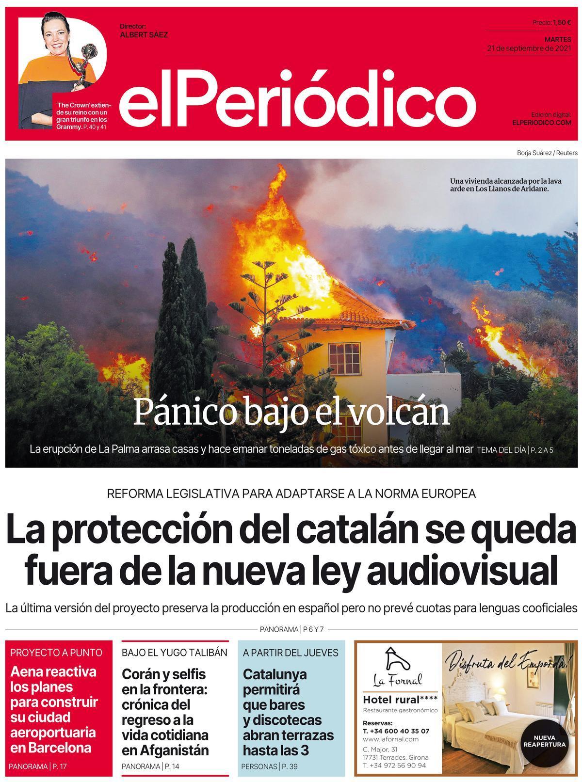 La portada de EL PERIÓDICO del 21 de septiembre del 2021