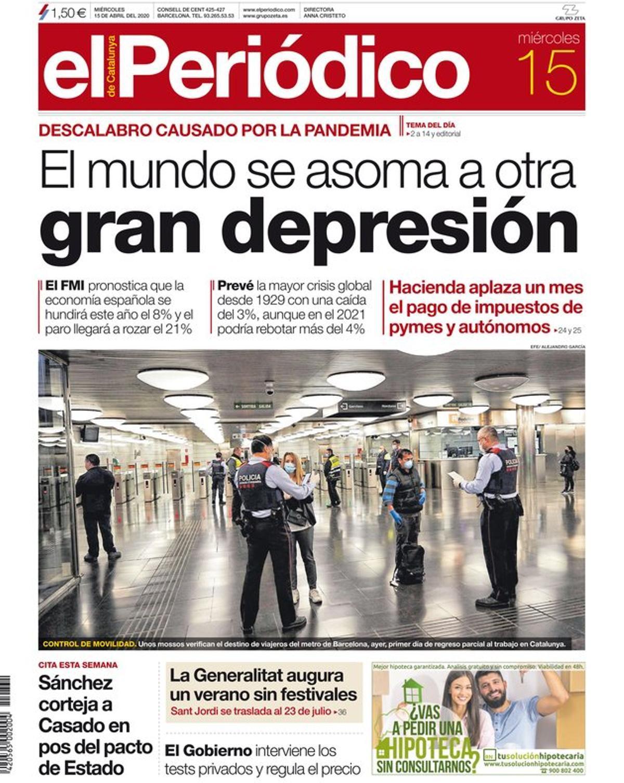 La portada de EL PERIÓDICO del 15 de abril del 2020