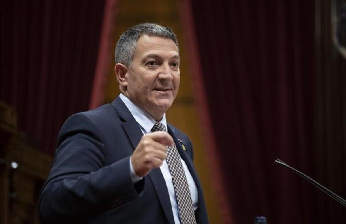El 'conseller' de Interior, Miquel Sámper, la semana pasada en el Parlament.